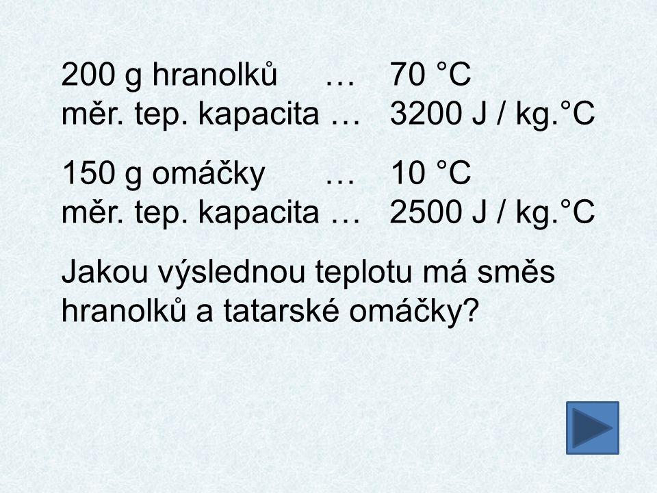 200 g hranolků…70 °C měr. tep. kapacita …3200 J / kg.°C 150 g omáčky…10 °C měr. tep. kapacita …2500 J / kg.°C Jakou výslednou teplotu má směs hranolků