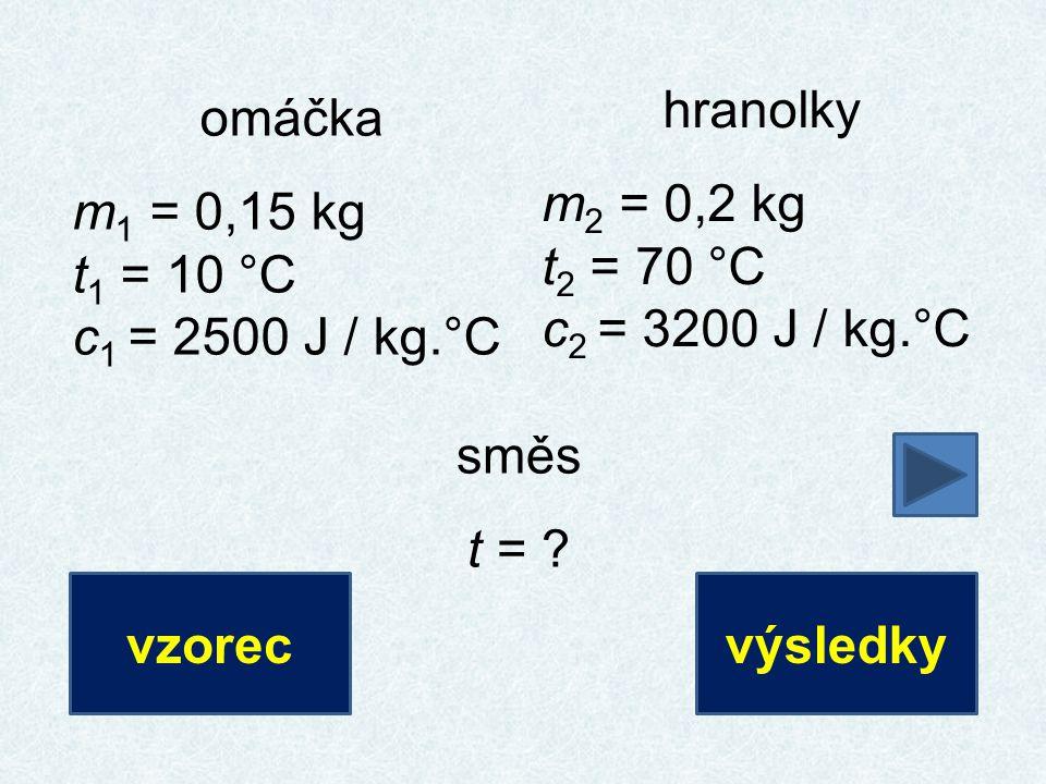 hranolky m 2 = 0,2 kg t 2 = 70 °C c 2 = 3200 J / kg.°C omáčka m 1 = 0,15 kg t 1 = 10 °C c 1 = 2500 J / kg.°C směs t = ? vzorecvýsledky