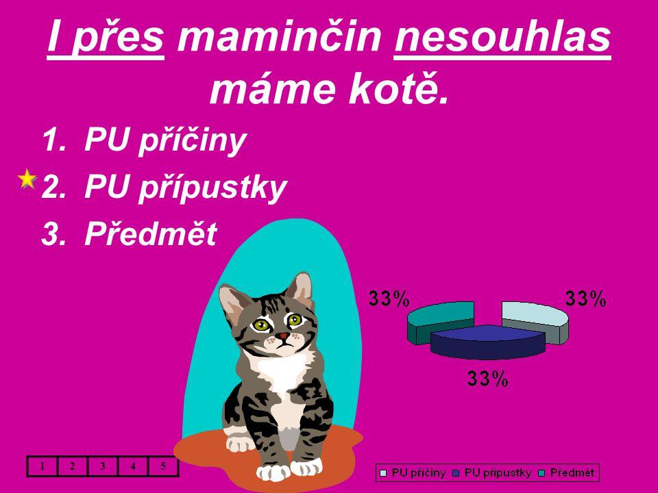I přes maminčin nesouhlas máme kotě. 1.PU příčiny 2.PU přípustky 3.Předmět 12345
