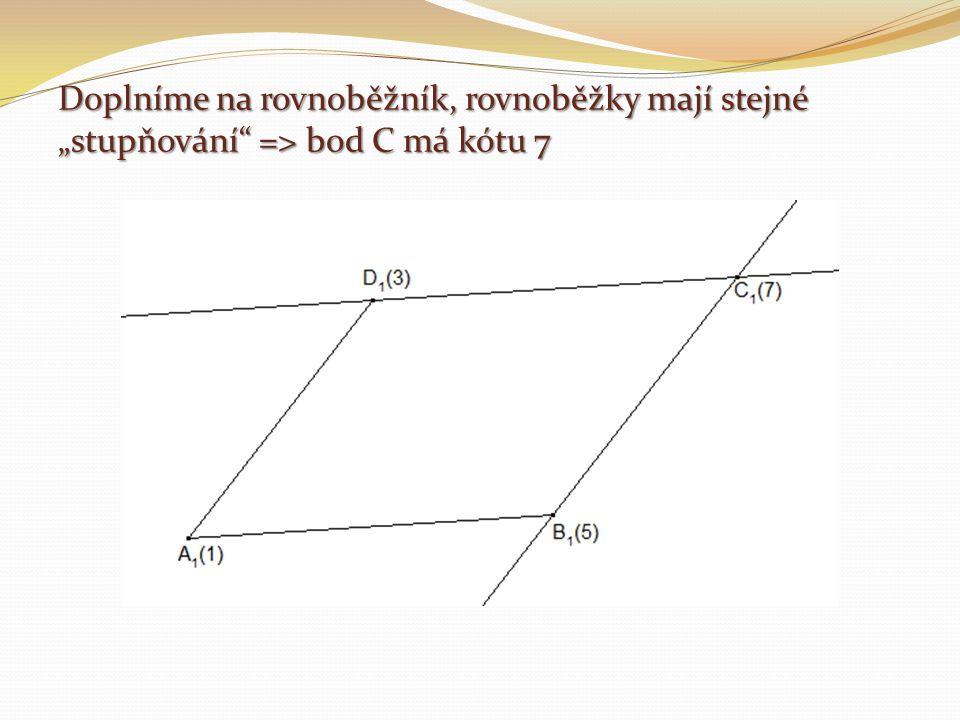 """Doplníme na rovnoběžník, rovnoběžky mají stejné """"stupňování"""" => bod C má kótu 7"""