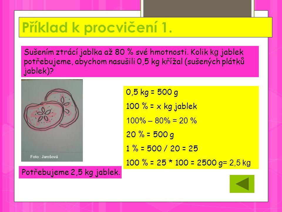 Příklad k procvičení 1. Potřebujeme 2,5 kg jablek. Sušením ztrácí jablka až 80 % své hmotnosti. Kolik kg jablek potřebujeme, abychom nasušili 0,5 kg k