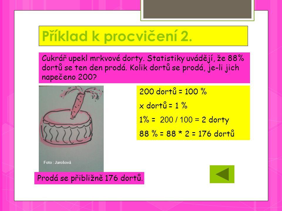 Příklad k procvičení 2. Prodá se přibližně 176 dortů.