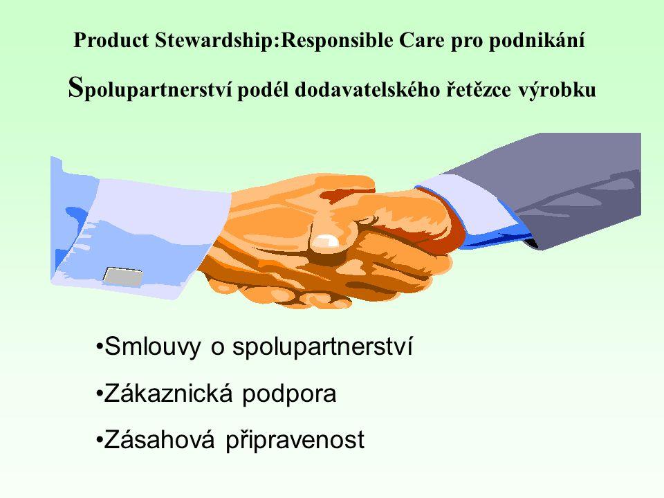 S polupartnerství podél dodavatelského řetězce výrobku Smlouvy o spolupartnerství Zákaznická podpora Zásahová připravenost Product Stewardship:Responsible Care pro podnikání