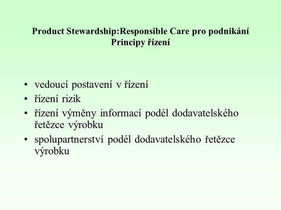 Product Stewardship: Responsible Care pro podnikání Budoucnost Implementace Product Stewardship přináší prospěch Trvalé zlepšení HS&E účinků našich produktů Podpora podnikání Uchovávání práva k průmyslové činnosti Přidaná hodnota pro naše zákazníky a společnost Bezpečnější a přátelštější k životnímu prostředí Méně problémů, nehod Diferencovaná a zvýšená hodnota produktů na trhu Dokonalejší řešení mimořádných událostí Lepší uspokojování potřeb a představ zákazníků Lepší image (zodpovědnější)