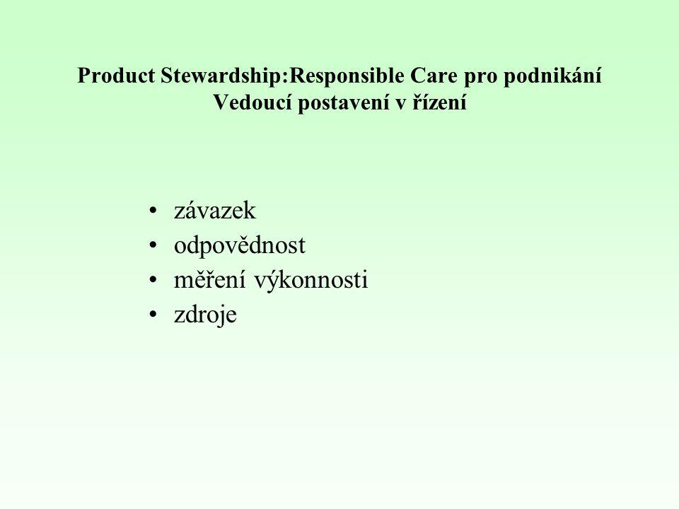 Product Stewardship:Responsible Care pro podnikání Vedoucí postavení v řízení závazek odpovědnost měření výkonnosti zdroje