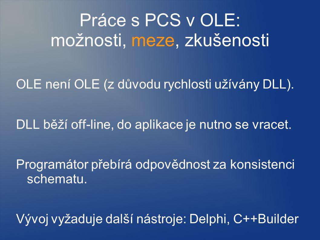 Práce s PCS v OLE: možnosti, meze, zkušenosti OLE není OLE (z důvodu rychlosti užívány DLL). DLL běží off-line, do aplikace je nutno se vracet. Progra
