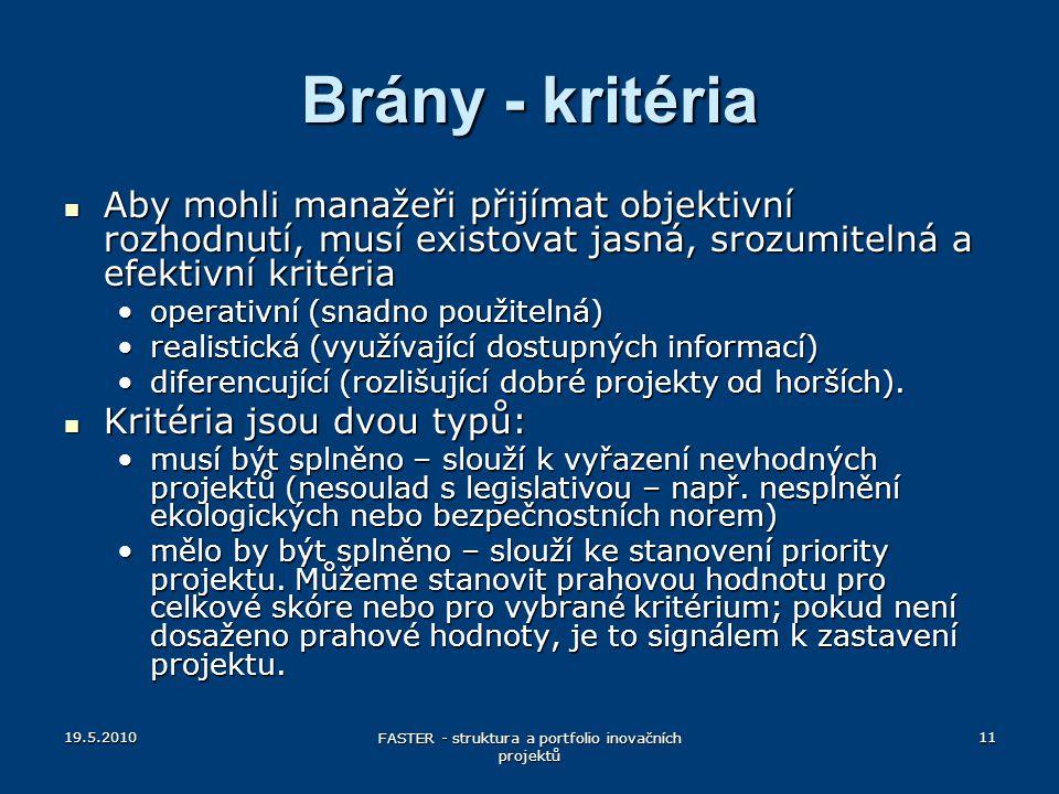 19.5.2010 FASTER - struktura a portfolio inovačních projektů 11 Brány - kritéria Aby mohli manažeři přijímat objektivní rozhodnutí, musí existovat jas