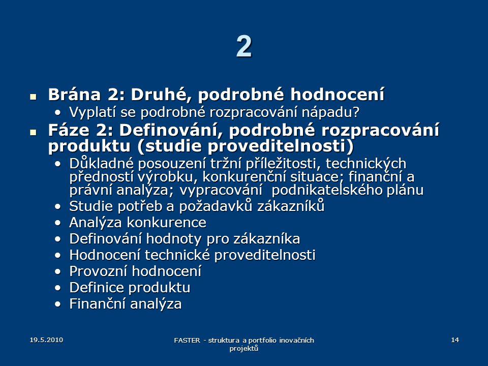19.5.2010 FASTER - struktura a portfolio inovačních projektů 14 2 Brána 2: Druhé, podrobné hodnocení Brána 2: Druhé, podrobné hodnocení Vyplatí se pod