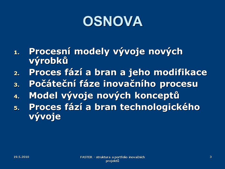 OSNOVA 1. Procesní modely vývoje nových výrobků 2. Proces fází a bran a jeho modifikace 3. Počáteční fáze inovačního procesu 4. Model vývoje nových ko