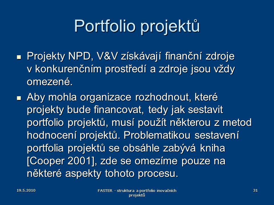 19.5.2010 FASTER - struktura a portfolio inovačních projektů 31 Portfolio projektů Projekty NPD, V&V získávají finanční zdroje v konkurenčním prostřed