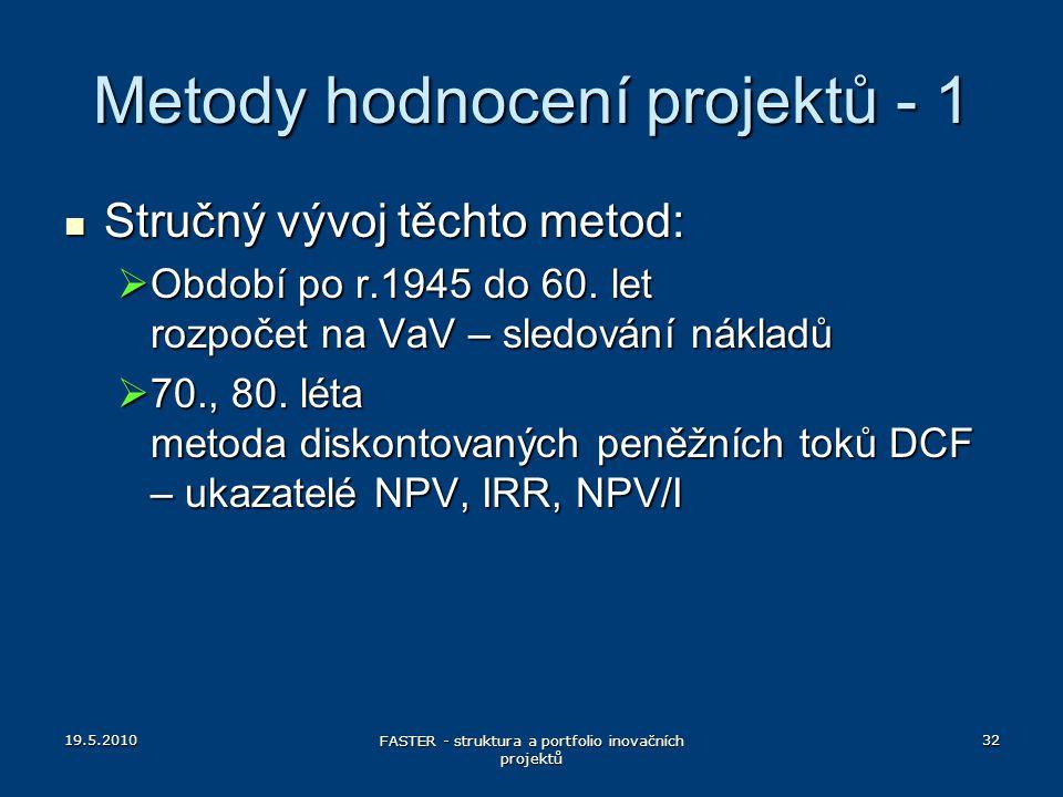 19.5.2010 FASTER - struktura a portfolio inovačních projektů 32 Metody hodnocení projektů - 1 Stručný vývoj těchto metod: Stručný vývoj těchto metod: