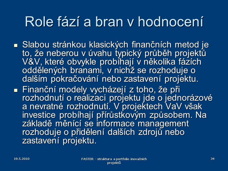 19.5.2010 FASTER - struktura a portfolio inovačních projektů 34 Role fází a bran v hodnocení Slabou stránkou klasických finančních metod je to, že neb