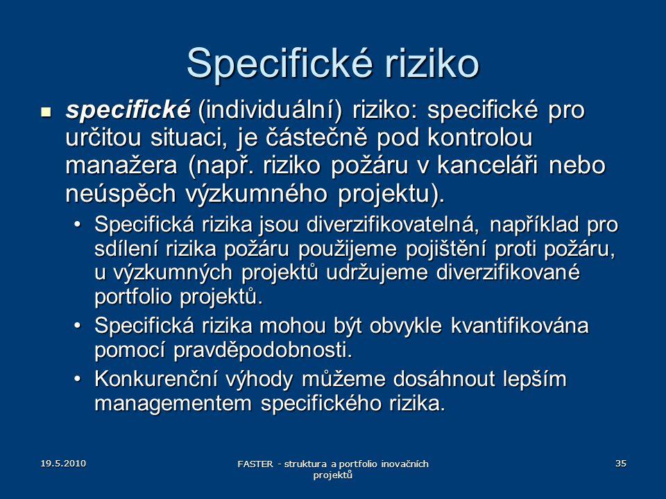 19.5.2010 FASTER - struktura a portfolio inovačních projektů 35 Specifické riziko specifické (individuální) riziko: specifické pro určitou situaci, je