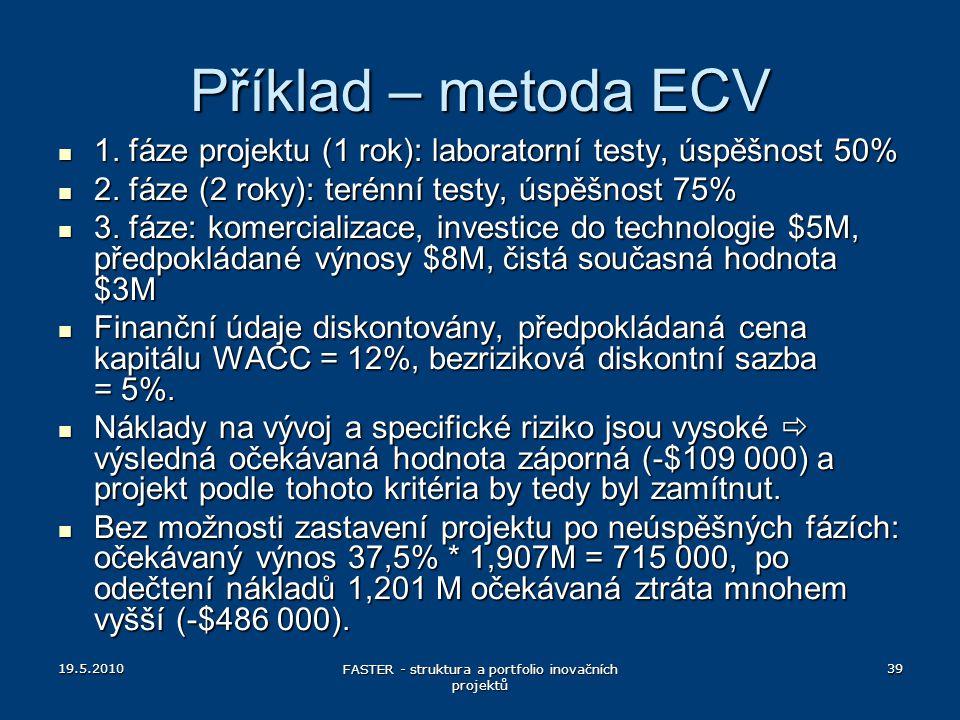 19.5.2010 FASTER - struktura a portfolio inovačních projektů 39 Příklad – metoda ECV 1. fáze projektu (1 rok): laboratorní testy, úspěšnost 50% 1. fáz
