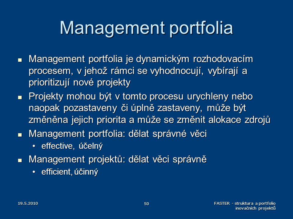 Management portfolia Management portfolia je dynamickým rozhodovacím procesem, v jehož rámci se vyhodnocují, vybírají a prioritizují nové projekty Man