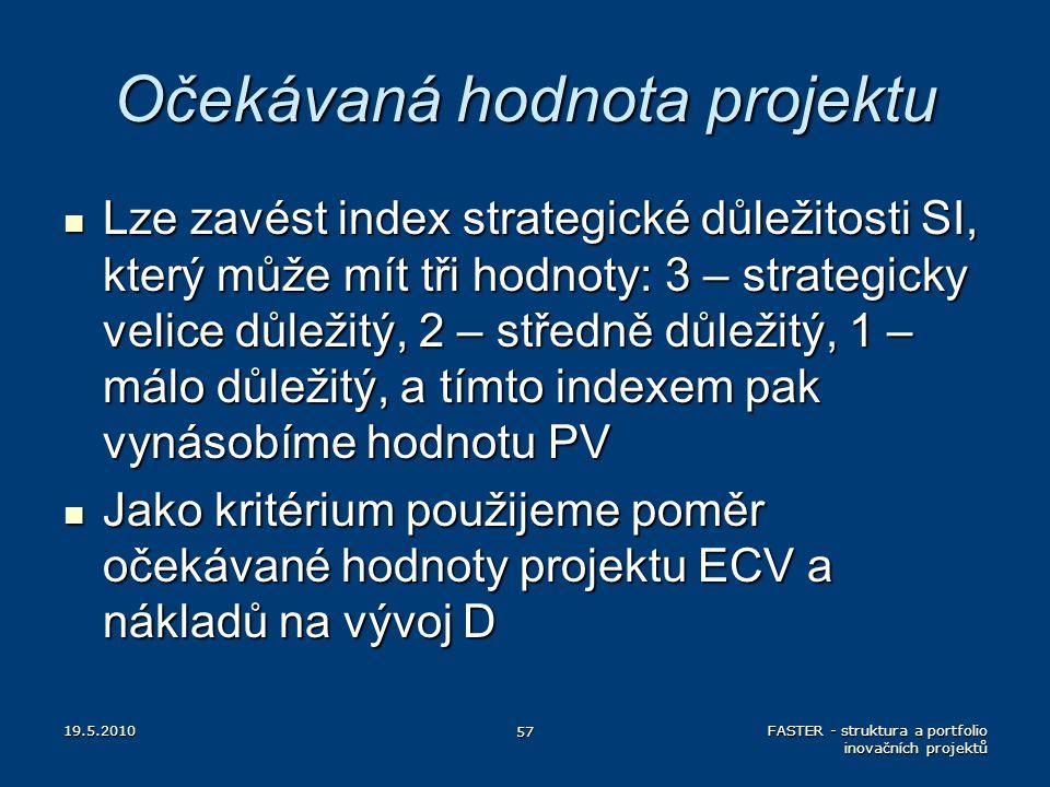 Očekávaná hodnota projektu Lze zavést index strategické důležitosti SI, který může mít tři hodnoty: 3 – strategicky velice důležitý, 2 – středně důlež
