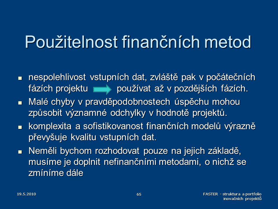 Použitelnost finančních metod nespolehlivost vstupních dat, zvláště pak v počátečních fázích projektu používat až v pozdějších fázích. nespolehlivost