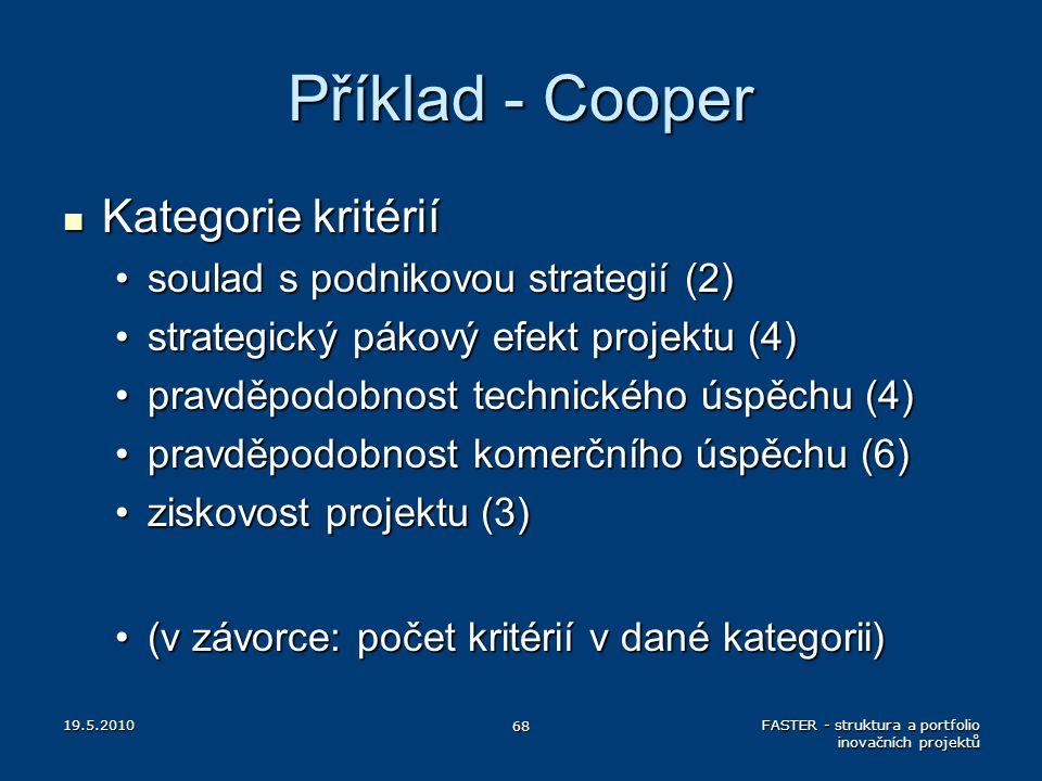 Příklad - Cooper Kategorie kritérií Kategorie kritérií soulad s podnikovou strategií (2)soulad s podnikovou strategií (2) strategický pákový efekt pro