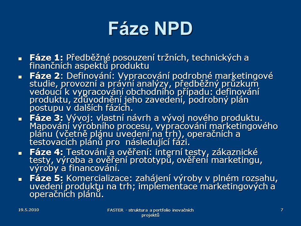 19.5.2010 FASTER - struktura a portfolio inovačních projektů 7 Fáze NPD Fáze 1: Předběžné posouzení tržních, technických a finančních aspektů produktu