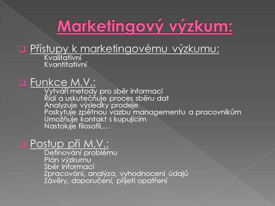  Přístupy k marketingovému výzkumu: Kvalitativní Kvantitativní  Funkce M.V.: Vytváří metody pro sběr informací Řídí a uskutečňuje proces sběru dat Analyzuje výsledky prodeje Poskytuje zpětnou vazbu managementu a pracovníkům Umožňuje kontakt s kupujícím Nastoluje filosofii,…  Postup při M.V.: Definování problému Plán výzkumu Sběr informací Zpracování, analýza, vyhodnocení údajů Závěry, doporučení, přijetí opatření