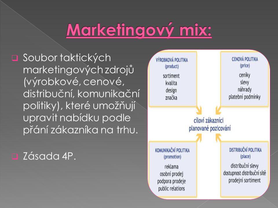  P roduct - zaměřuje se na kvalitu nabízeného produktu nebo služby - označuje nejen výrobek samotný nebo službu, ale i sortiment, kvalitu, design, obal, značku,…  P rice - úkolem není primárně dodávat na trh špičkové zboží, ale takové, které má nejvyšší poměr užitné hodnoty a ceny - zahrnuje i slevy, podmínky placení, náhrady nebo možnosti úvěru - rozeznáváme 3 typy cen: nákladový, poptávkový a dumpingový typ ceny