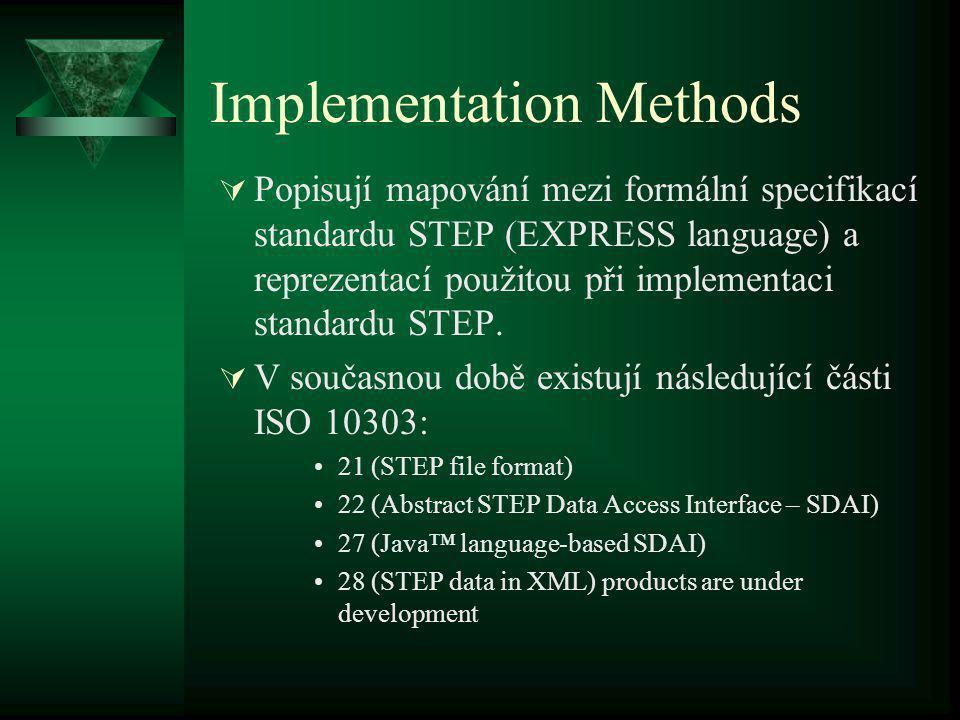 Vývojové nástroje 1) Nástroje k modelování informací poskytují rychlou definici produktových modelů pomocí jazyka EXPRESS, který je základem STEPu.