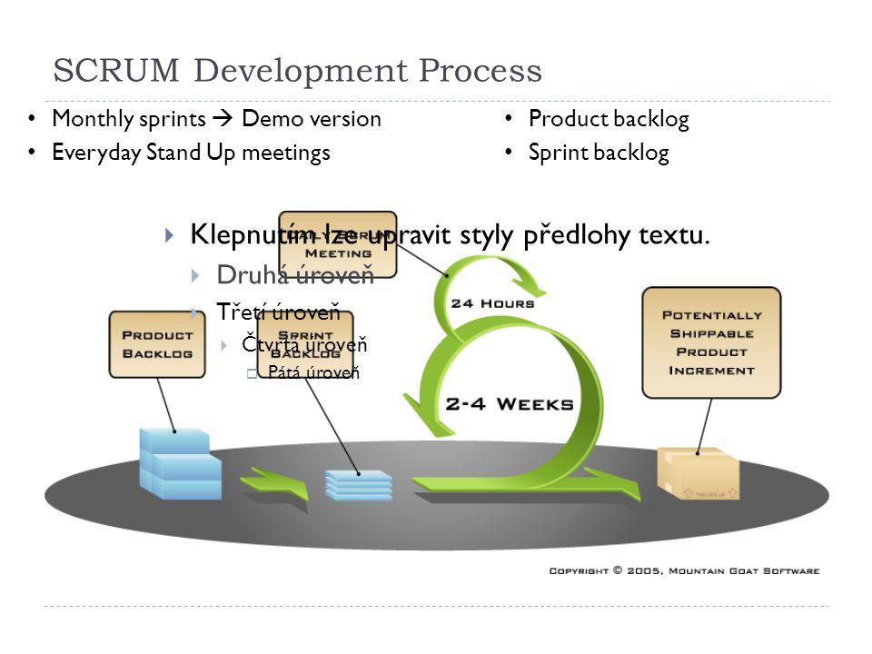 SCRUM Development Process 6.10.201218  Klepnutím lze upravit styly předlohy textu.