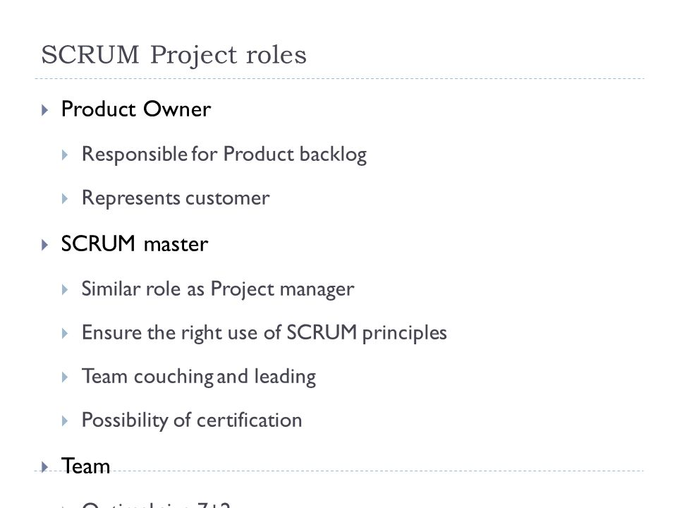 SCRUM Project roles 6.10.201219  Product Owner  Responsible for Product backlog  Represents customer  SCRUM master  Similar role as Project manager  Ensure the right use of SCRUM principles  Team couching and leading  Possibility of certification  Team  Optimal size 7±2  The structure could be changed after the sprint  There is always concrete code owner