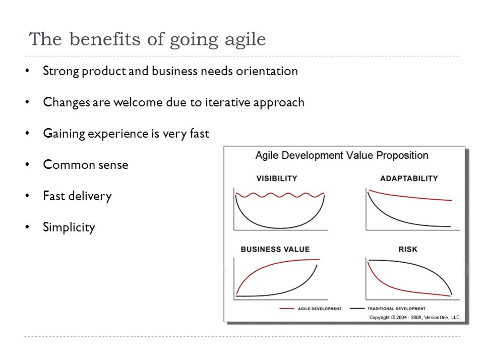 The benefits of going agile Strong product and business needs orientation Changes are welcome due to iterative approach Gaining experience is very fast Common sense Fast delivery Simplicity