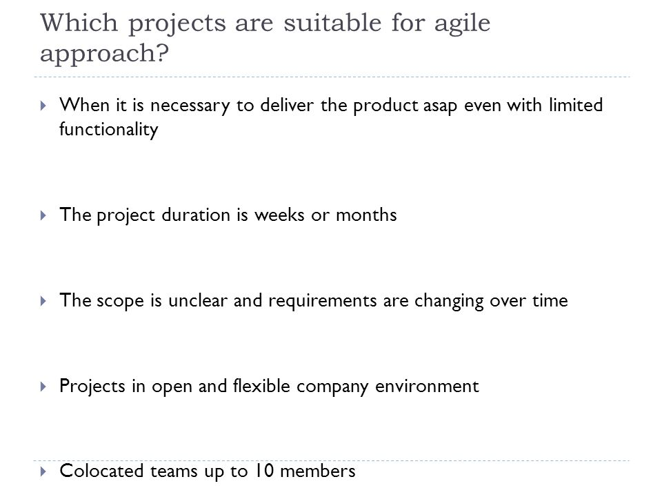 Success factors for using agile 6.10.20129  Well structured team  Common vision  Ongoing team dynamic and social interactions monitoring  Cooperation support  Workplace without barrierrs  Rest zones  Information clarity and openness