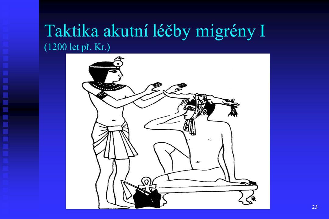 23 Taktika akutní léčby migrény I (1200 let př. Kr.)