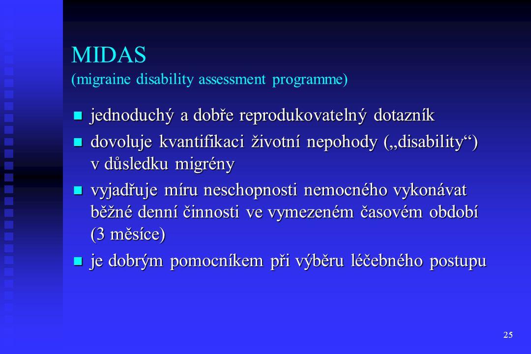 25 MIDAS (migraine disability assessment programme) jednoduchý a dobře reprodukovatelný dotazník jednoduchý a dobře reprodukovatelný dotazník dovoluje