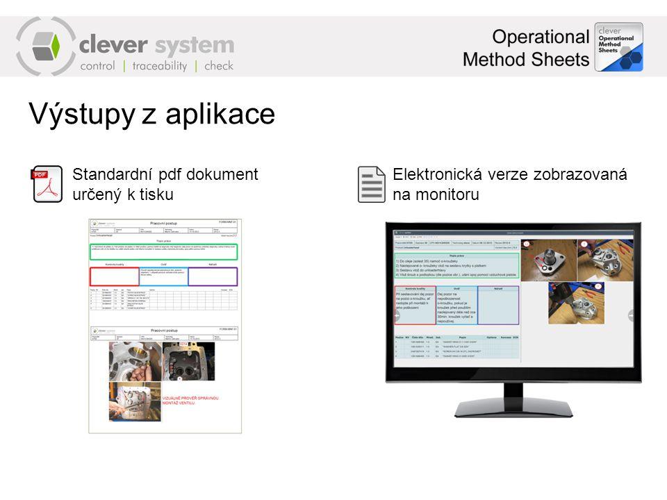 Výstupy z aplikace Standardní pdf dokument určený k tisku Elektronická verze zobrazovaná na monitoru