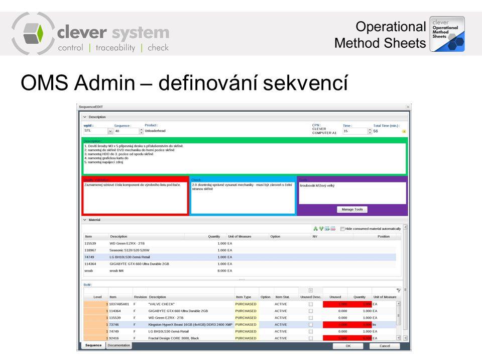 OMS Admin – definování sekvencí