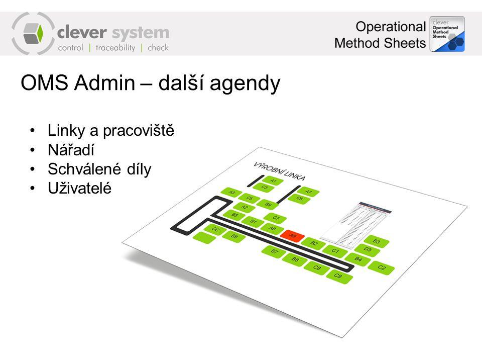 OMS Admin – další agendy Linky a pracoviště Nářadí Schválené díly Uživatelé