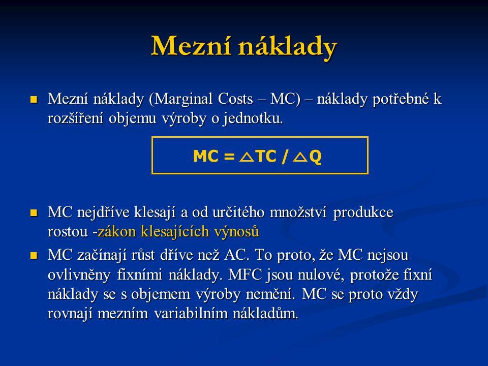 Mezní náklady Mezní náklady (Marginal Costs – MC) – náklady potřebné k rozšíření objemu výroby o jednotku. Mezní náklady (Marginal Costs – MC) – nákla
