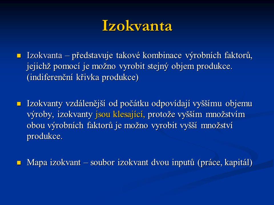 Izokvanta Izokvanta – představuje takové kombinace výrobních faktorů, jejichž pomocí je možno vyrobit stejný objem produkce. (indiferenční křivka prod