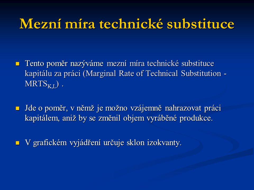 Mezní míra technické substituce Tento poměr nazýváme mezní míra technické substituce kapitálu za práci (Marginal Rate of Technical Substitution - MRTS