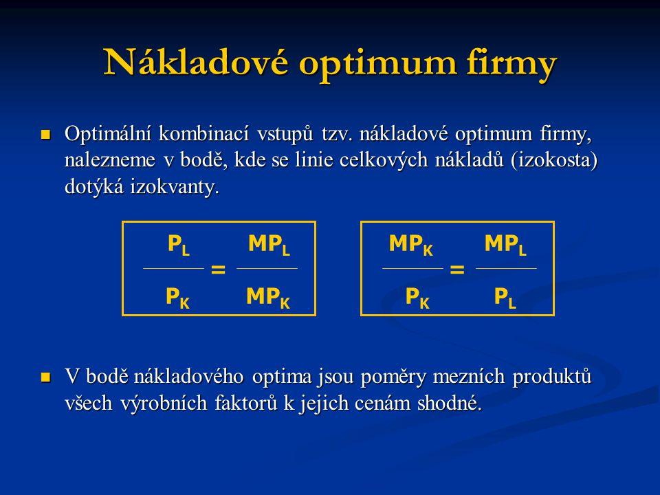 Nákladové optimum firmy Optimální kombinací vstupů tzv. nákladové optimum firmy, nalezneme v bodě, kde se linie celkových nákladů (izokosta) dotýká iz