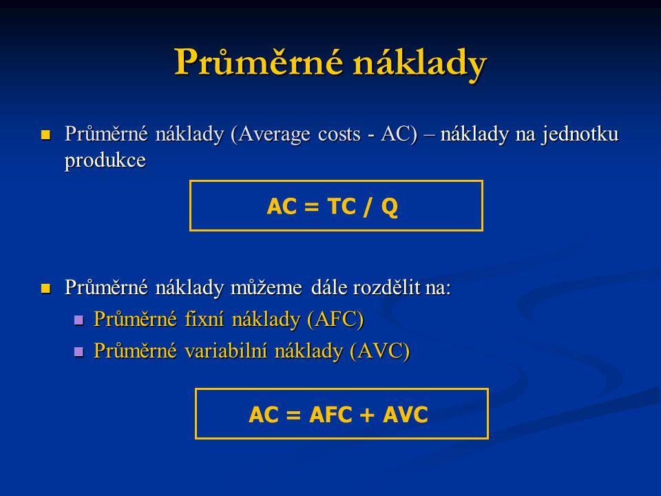 Průměrné náklady Průměrné náklady (Average costs - AC) – náklady na jednotku produkce Průměrné náklady (Average costs - AC) – náklady na jednotku prod