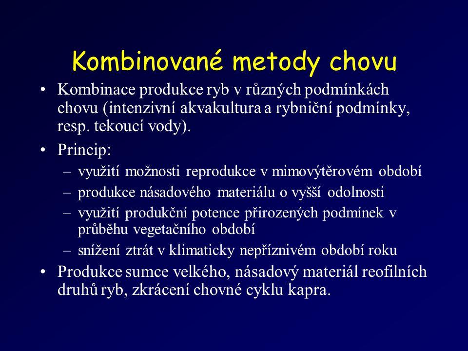 Kombinované metody chovu Kombinace produkce ryb v různých podmínkách chovu (intenzivní akvakultura a rybniční podmínky, resp.