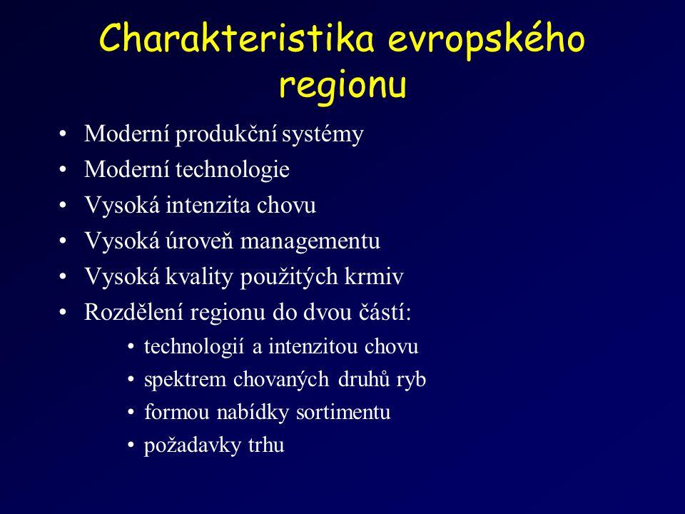 Charakteristika evropského regionu Moderní produkční systémy Moderní technologie Vysoká intenzita chovu Vysoká úroveň managementu Vysoká kvality použitých krmiv Rozdělení regionu do dvou částí: technologií a intenzitou chovu spektrem chovaných druhů ryb formou nabídky sortimentu požadavky trhu
