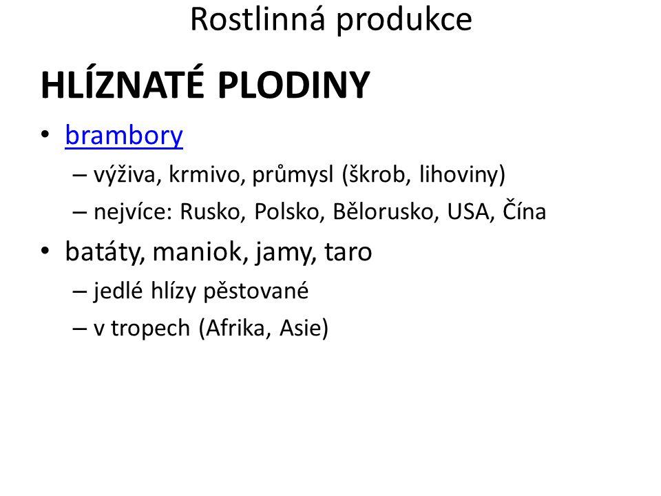 Rostlinná produkce HLÍZNATÉ PLODINY brambory – výživa, krmivo, průmysl (škrob, lihoviny) – nejvíce: Rusko, Polsko, Bělorusko, USA, Čína batáty, maniok
