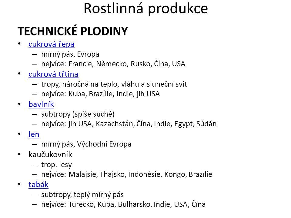 Rostlinná produkce TECHNICKÉ PLODINY cukrová řepa – mírný pás, Evropa – nejvíce: Francie, Německo, Rusko, Čína, USA cukrová třtina – tropy, náročná na