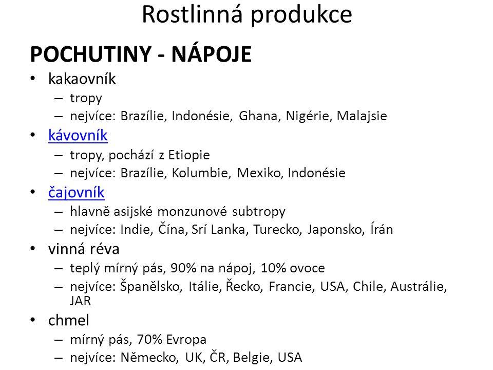 Rostlinná produkce POCHUTINY - NÁPOJE kakaovník – tropy – nejvíce: Brazílie, Indonésie, Ghana, Nigérie, Malajsie kávovník – tropy, pochází z Etiopie –