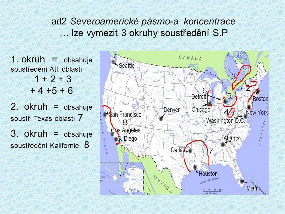 ad2 Severoamerické pásmo-a koncentrace … lze vymezit 3 okruhy soustředění S.P 1.
