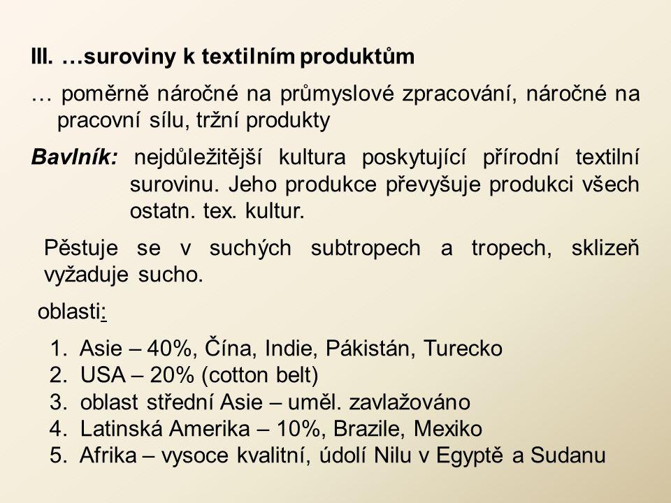 III. …suroviny k textilním produktům … poměrně náročné na průmyslové zpracování, náročné na pracovní sílu, tržní produkty Bavlník: nejdůležitější kult