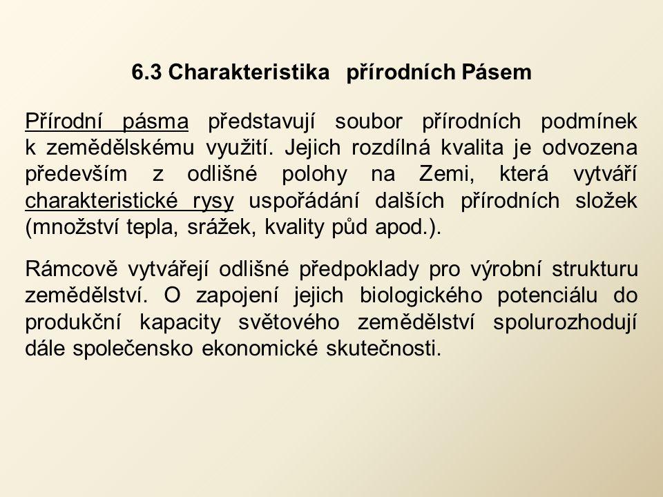 6.3 Charakteristika přírodních Pásem Přírodní pásma představují soubor přírodních podmínek k zemědělskému využití. Jejich rozdílná kvalita je odvozena