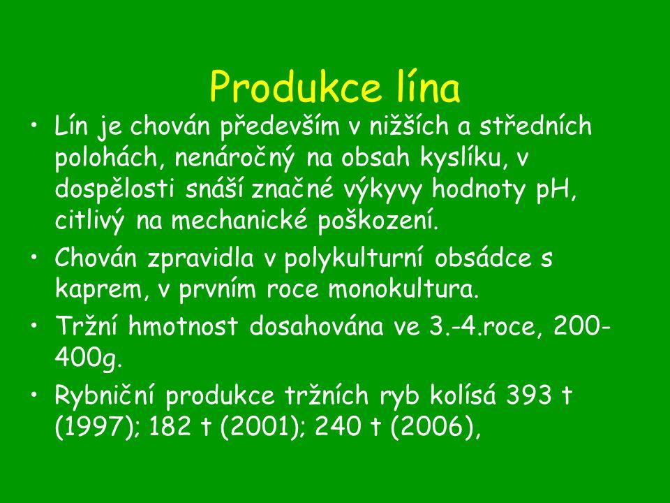 Produkce lína Lín je chován především v nižších a středních polohách, nenáročný na obsah kyslíku, v dospělosti snáší značné výkyvy hodnoty pH, citlivý na mechanické poškození.