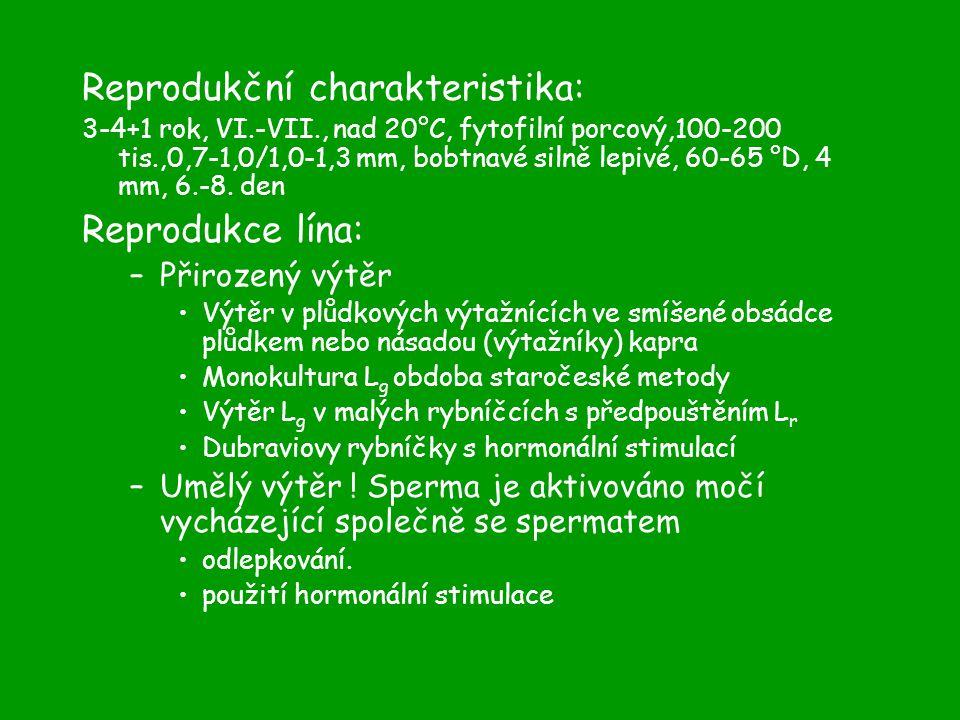 Reprodukční charakteristika: 3-4+1 rok, VI.-VII., nad 20°C, fytofilní porcový,100-200 tis.,0,7-1,0/1,0-1,3 mm, bobtnavé silně lepivé, 60-65 °D, 4 mm, 6.-8.